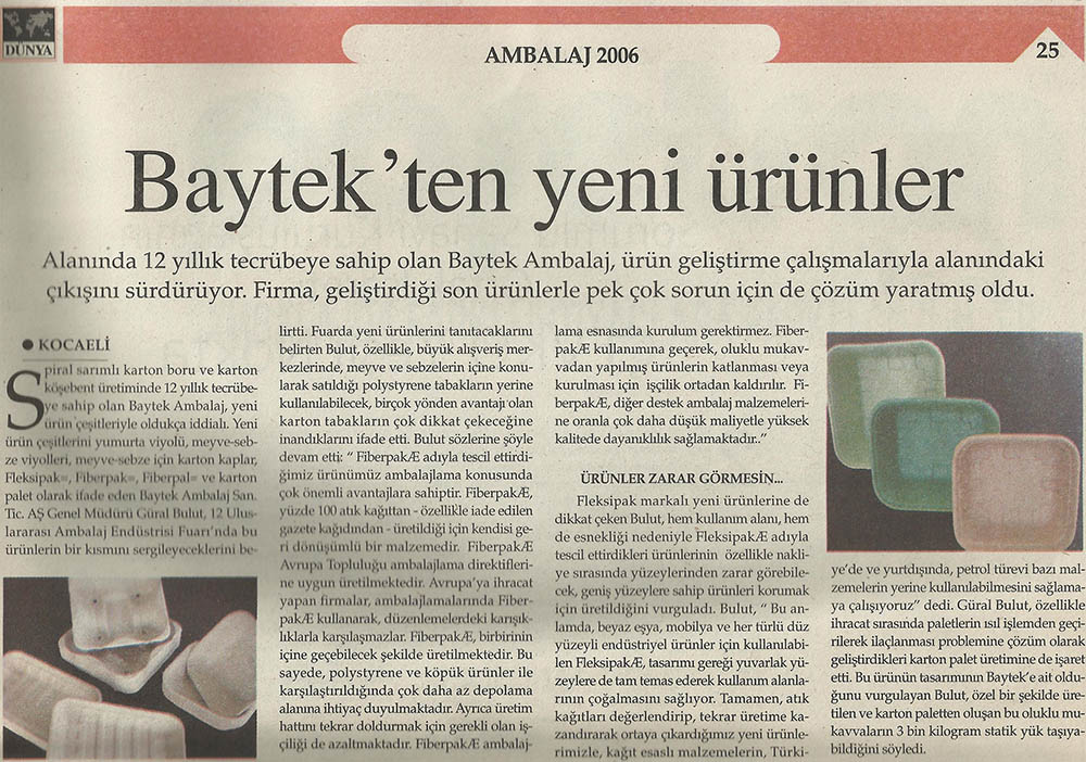 Dünya Gazetesi Ambalaj Eki - Baytek'ten yeni ürünler